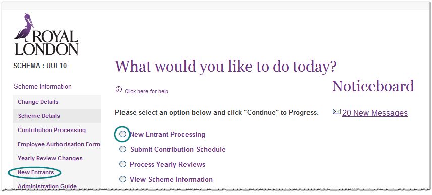 screengrab, showing how to add a new entrant to the pension scheme